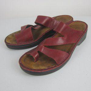 Naot Monterey Slide Sandals in Burgundy Leather 41